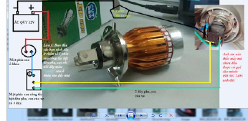 Cách đấu đèn led pha xe máy